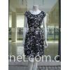 经典时尚花朵图案圆领短袖连衣裙