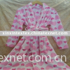printed coral fleece gown