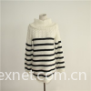 Girl's Cabled And Striped Turtleneck Sweater