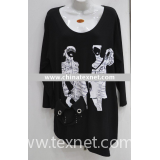 fashion lady's t-shirt, knitted t-shirt, cotton t-shirt
