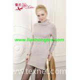 L-038 lady's solid color turtleneck pullover cashmere sweater dress