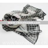 fashion lady printed silk polyester shawl