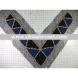 V-shaped wooden bead collar
